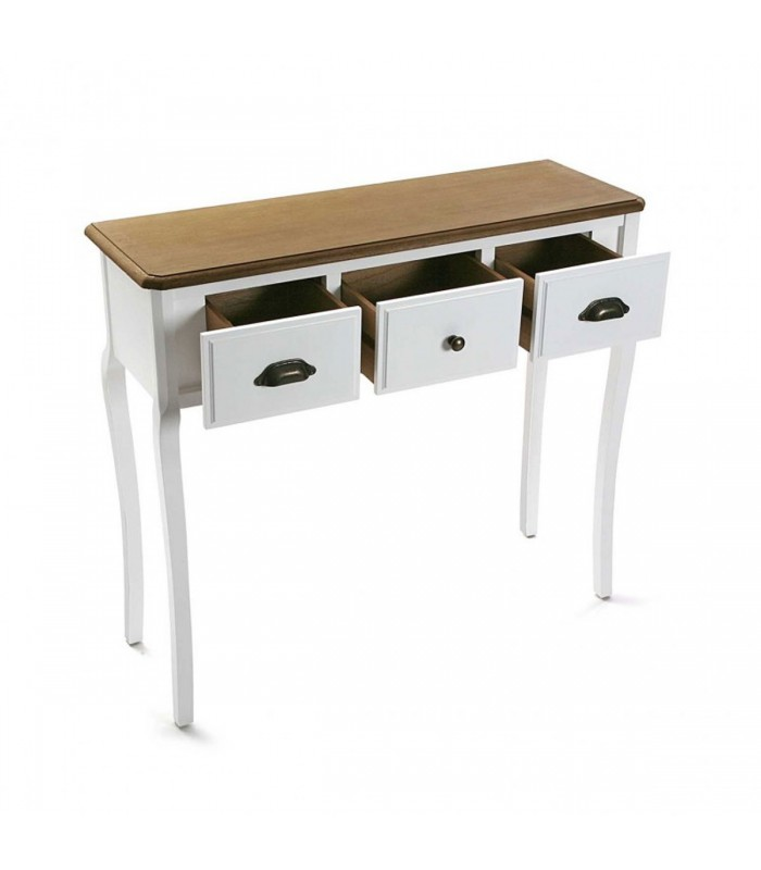 console table white wood 3 drawers. Black Bedroom Furniture Sets. Home Design Ideas