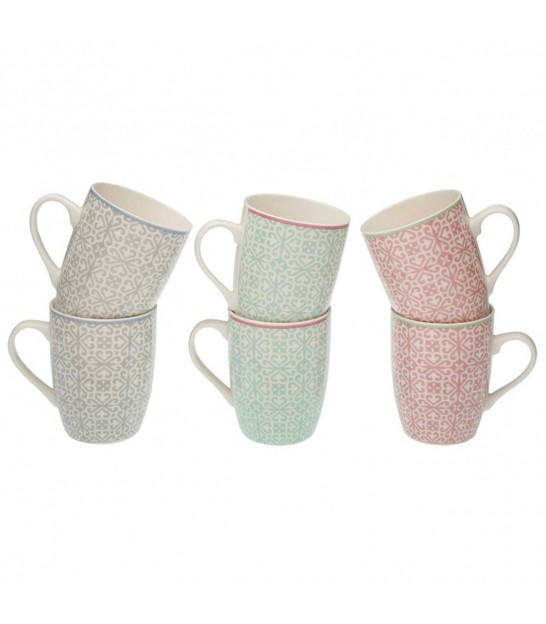 Set de 6 Mugs en Porcelaine Multicolores