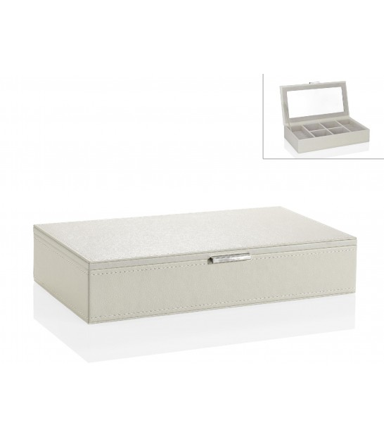Jewelry Box with Mirror White Leatherette
