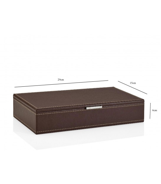 Jewelry Box with Mirror Brown Leatherette