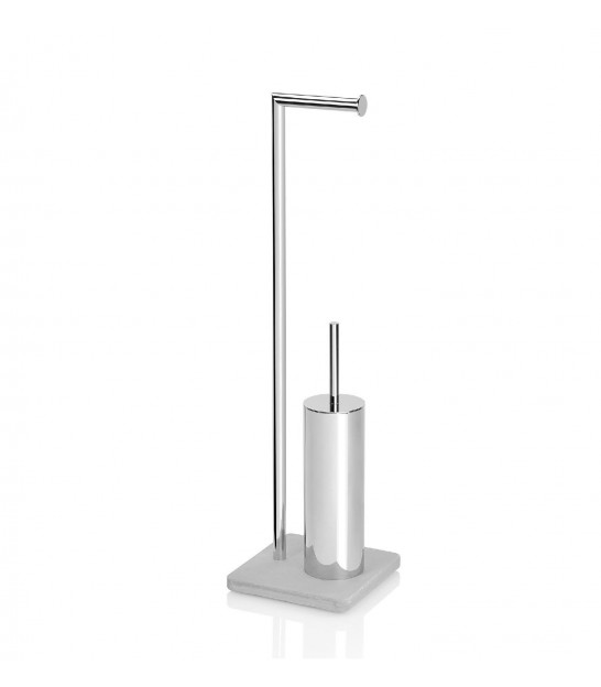 Toilet Brush and Paper Holder Concrete and Inox