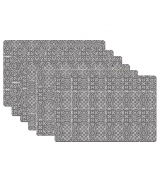 Table Set Polypropylene Little Cement Tiles Grey - Set of 6