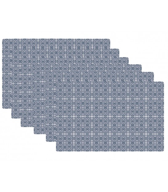 Set de Table Design Petits Carreaux de Ciment Bleu en Vinyle - Set de 6