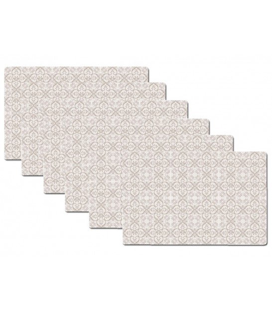 Set de Table Design Carreaux de Ciment Beige en Vinyle - Set de 6