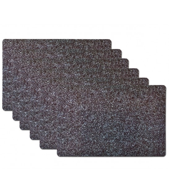 Set de Table Vinyle Motif Granite Noir - Set de 6