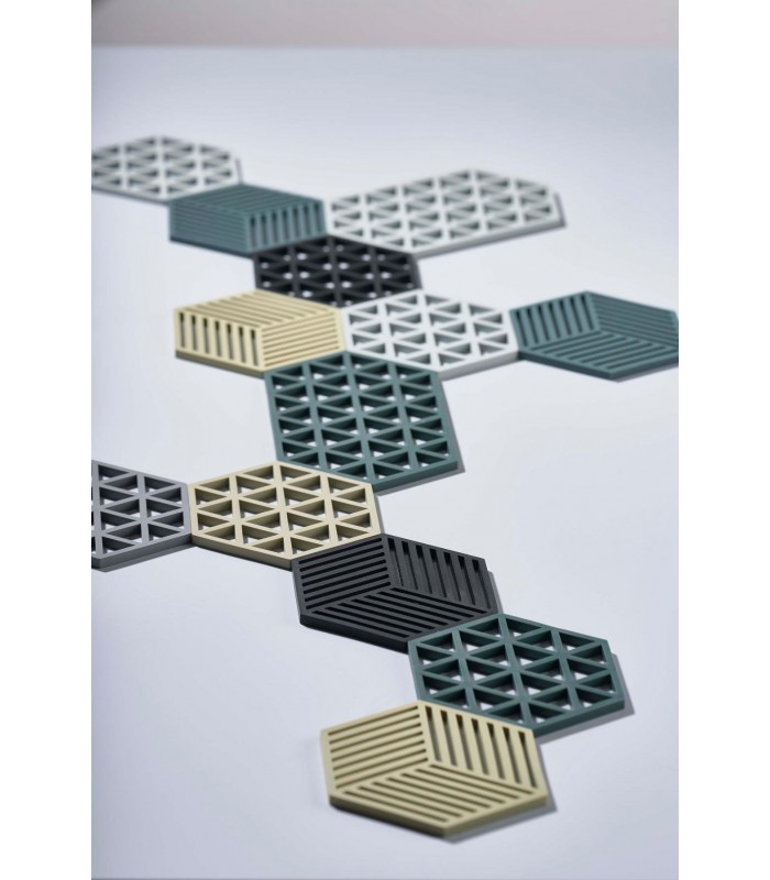 Trivet Grey Silicone Hexagone with triangles