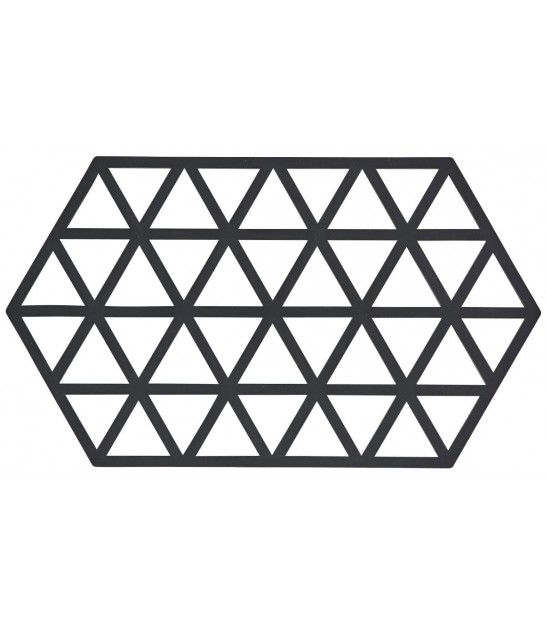Trivet Black Silicone Hexagone Triangles - Large