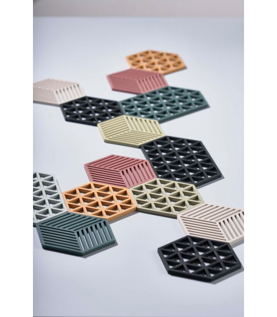 Trivet Black Silicone Hexagone Triangles
