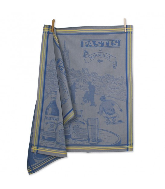 Set of 2 Tea Towels 100% Cotton Pastis Blue and Yellow ↕ 70cm ↔ 50cm