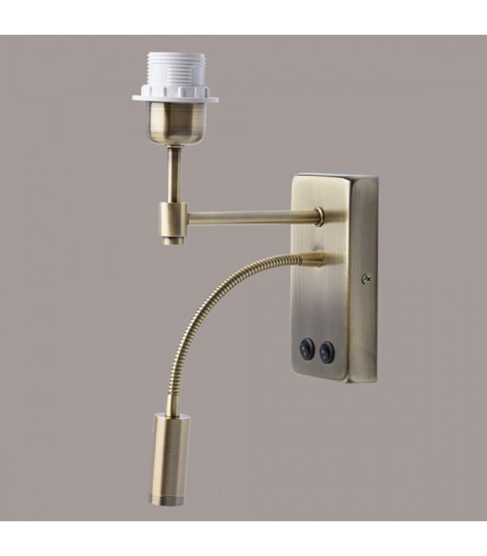 Wall Lamp With Flexible Reading Light Golden Metal