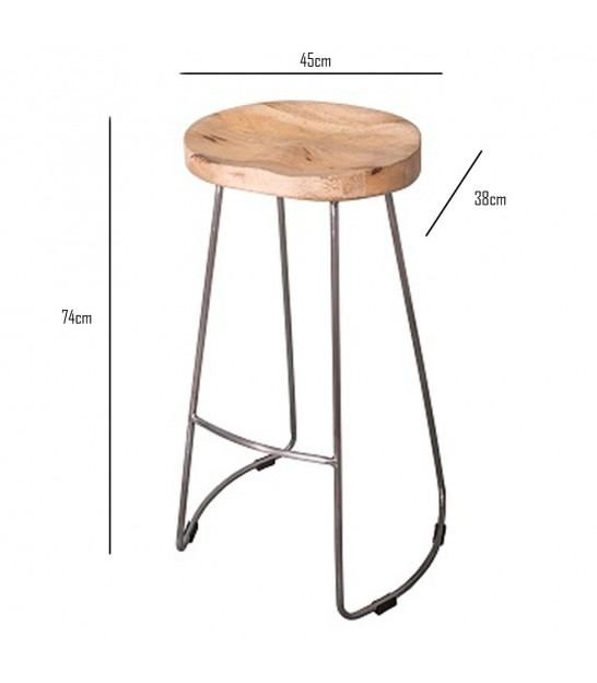 Wood and Metal Design Bar Stool