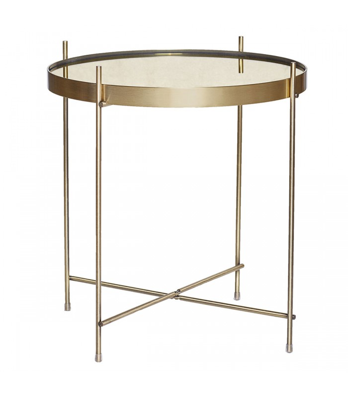 Table basse ronde en m tal dor et miroir 43cm 45cm for Table basse miroir