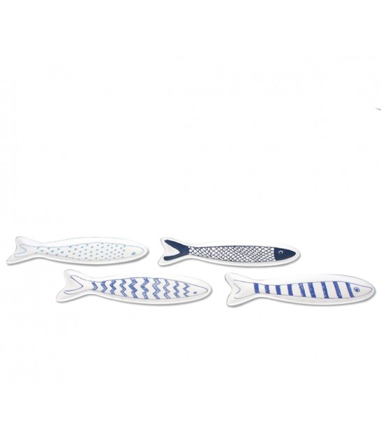 Set of 4 Ramekins White and Bleu Porcelain Fishes