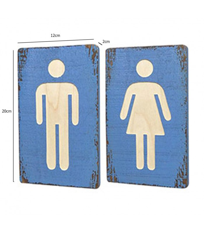 Wc Signs Woman Man Blue Wood