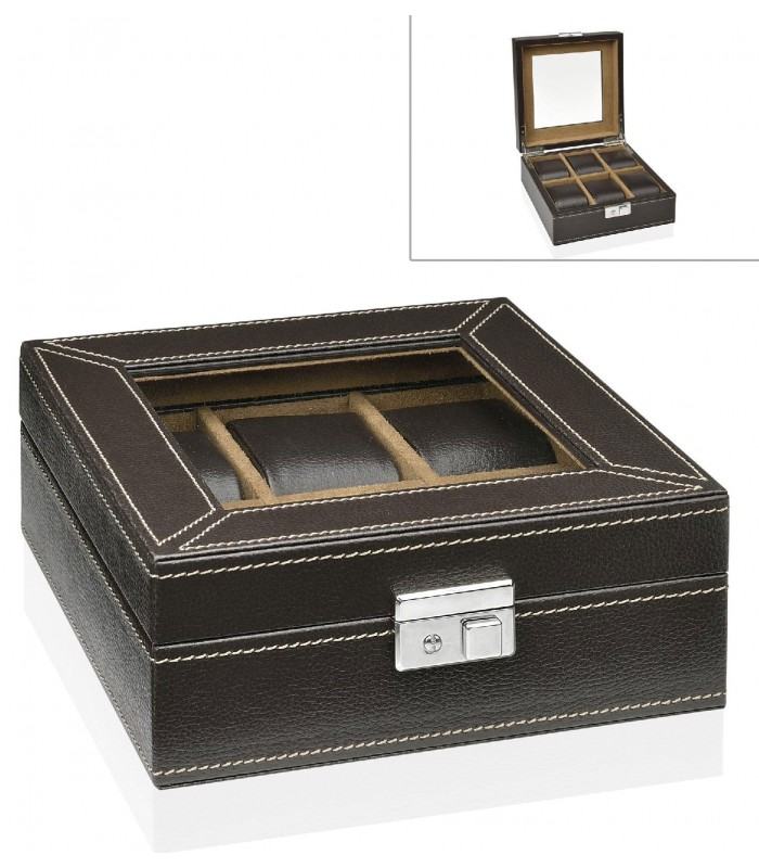 coffret de rangement pour 6 montres en similicuir marron carr. Black Bedroom Furniture Sets. Home Design Ideas