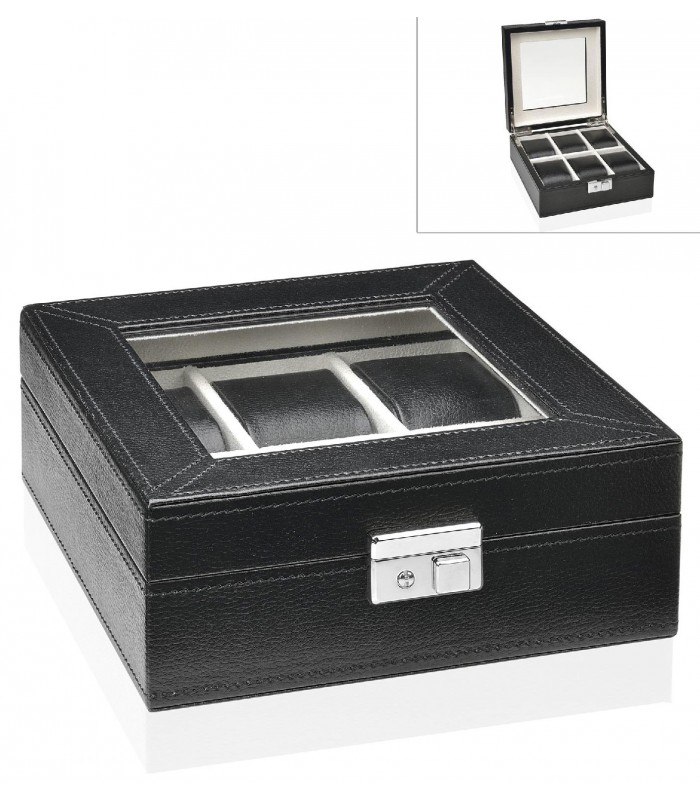 coffret de rangement pour montres en similicuir marron et. Black Bedroom Furniture Sets. Home Design Ideas