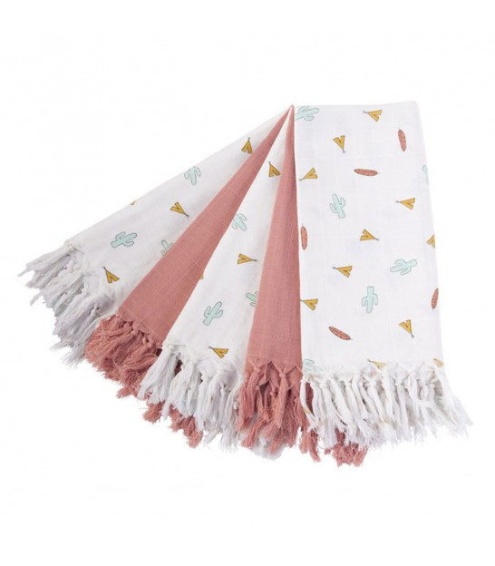 Set de 5 Grands Langes 100% Coton Rose et Blanc à Motifs