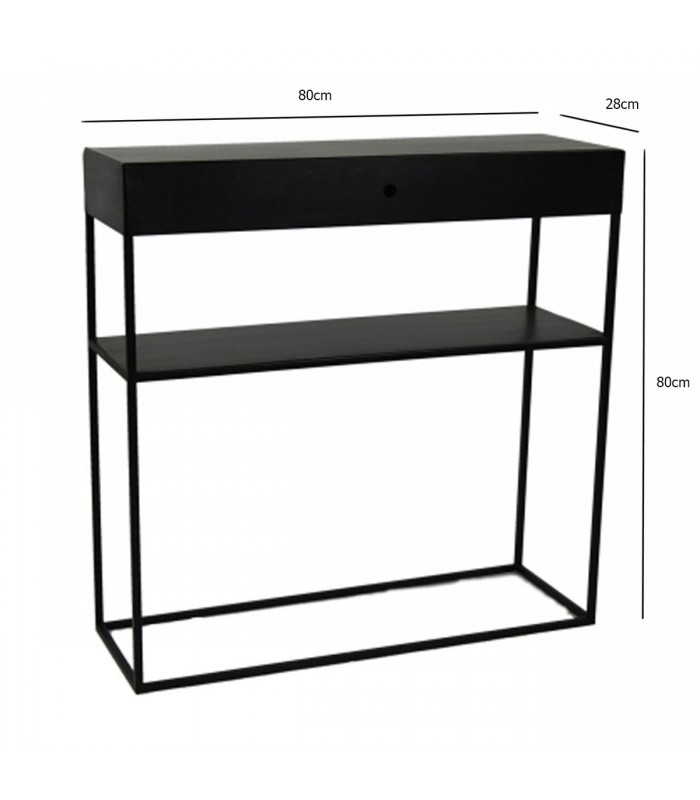 console d 39 entr e en m tal noir 1 tiroir zen longueur 80cm. Black Bedroom Furniture Sets. Home Design Ideas