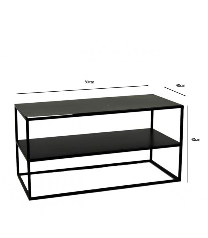 table basse en m tal noir longueur 80cm x largeur 40cm. Black Bedroom Furniture Sets. Home Design Ideas