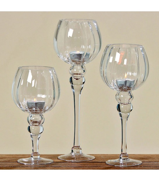Set of 3 glass candle jars on base Deco Shari