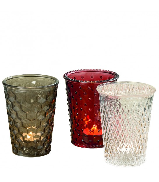 Set of 3 Photophores Multicolor Glass