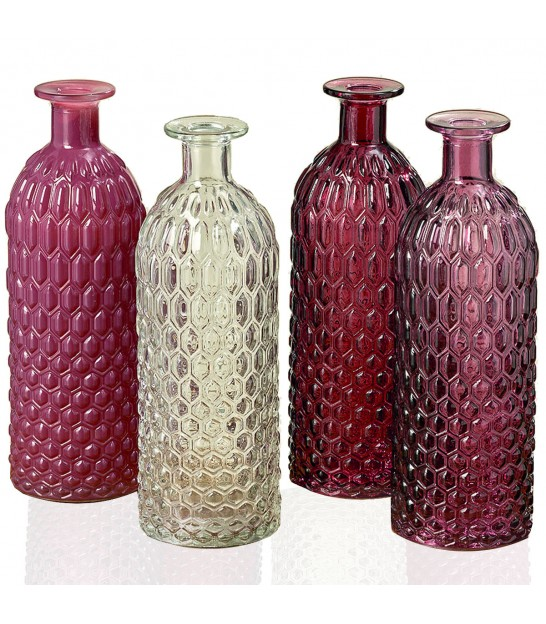 Set of 4 Vases Glass - Height 25cm