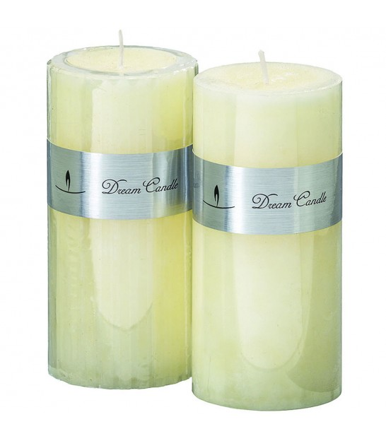 Set of 2 Candles Beige Cream - Height 15cm x diameter 7cm