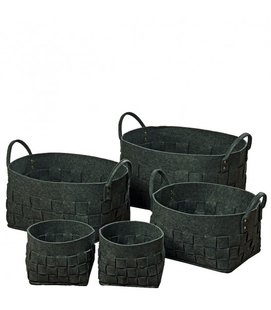 Set of 5 Organizer Boxes Black Felt