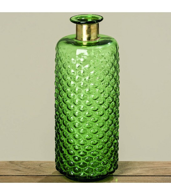 Ball Vase Green Glass and Golden Metal - Height 18cm