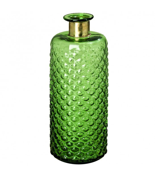 Design Vase Green Glass and Golden Metal - Height 39cm