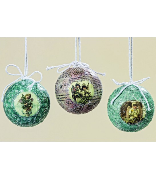 Set of 4 Christmas Balls Glass - Vintage Gold