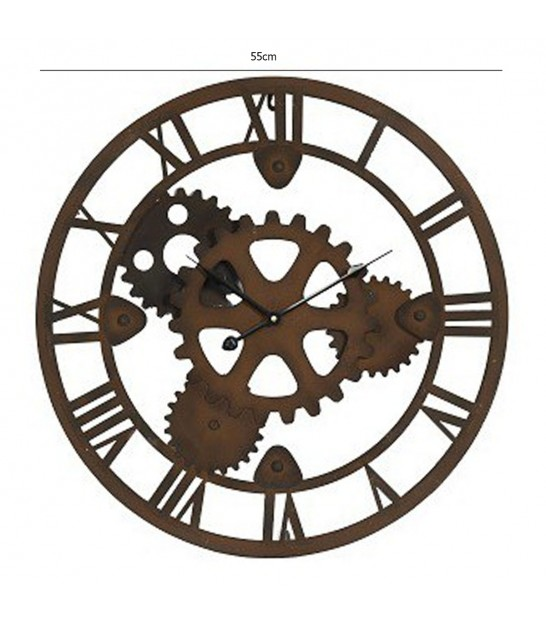 Round Wall Clock Wood and Metal Industrial
