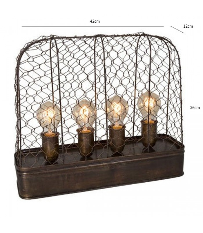 lampe poser style industriel m tal grillag 4 ampoules. Black Bedroom Furniture Sets. Home Design Ideas