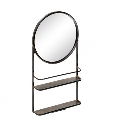 Wall Shelf With Round Mirror Black Metal