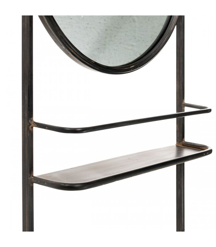 wall shelf with round mirror black metal. Black Bedroom Furniture Sets. Home Design Ideas