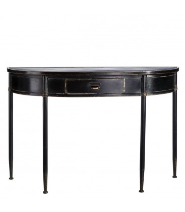 console classique en m tal noir avec tiroir. Black Bedroom Furniture Sets. Home Design Ideas