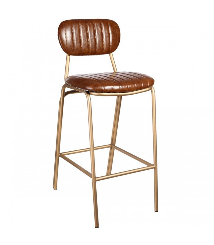 bar stool golden metal and brown pu. Black Bedroom Furniture Sets. Home Design Ideas