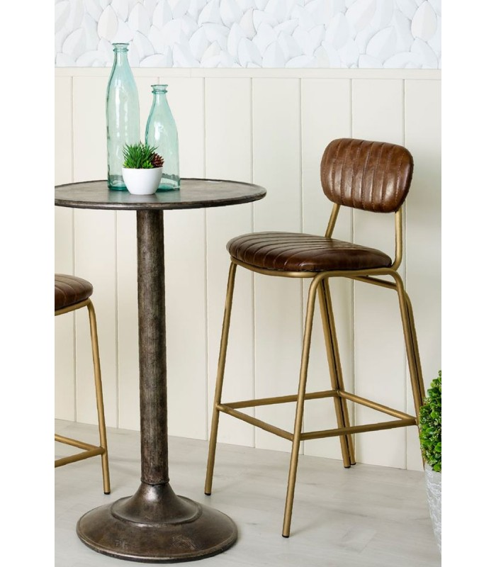 tabouret de bar m tal dor et assise pu marron avec dossier vintage. Black Bedroom Furniture Sets. Home Design Ideas