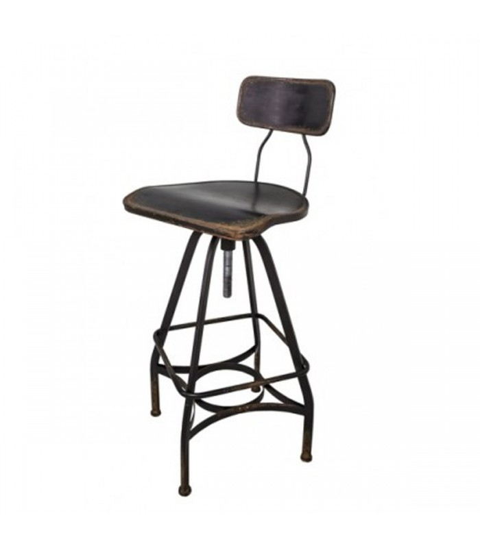 tabouret de bar bois et m tal pivotant r glable. Black Bedroom Furniture Sets. Home Design Ideas