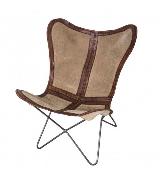 Lounge Chair Brown Leather, Beige Canvas and Black Metal