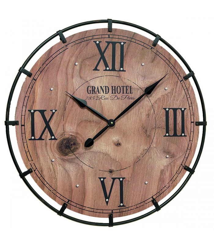 horloge murale ronde bois et m tal grand hotel. Black Bedroom Furniture Sets. Home Design Ideas
