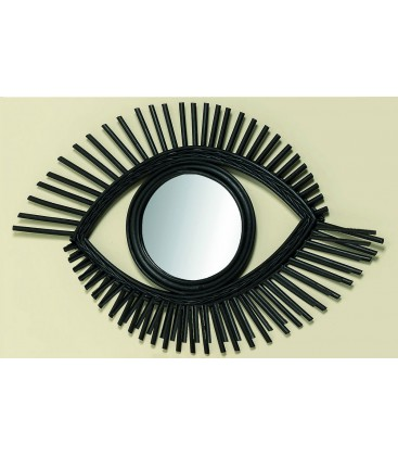 Wall Mirror Black Rattan Eye