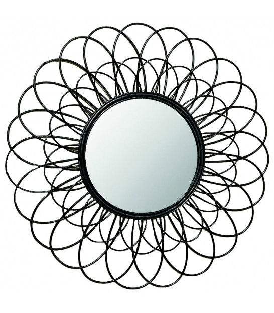 Rattan Wall Decor Round : Big wall black rattan round mirror