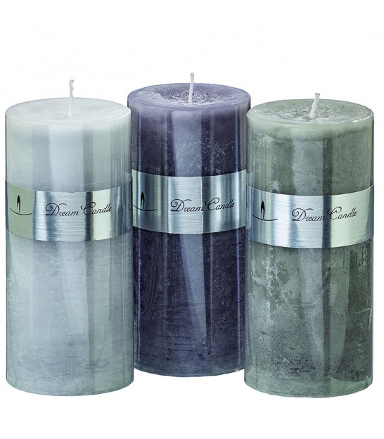 Set of 3 Candles Grey - Height 15cm x diameter 7cm
