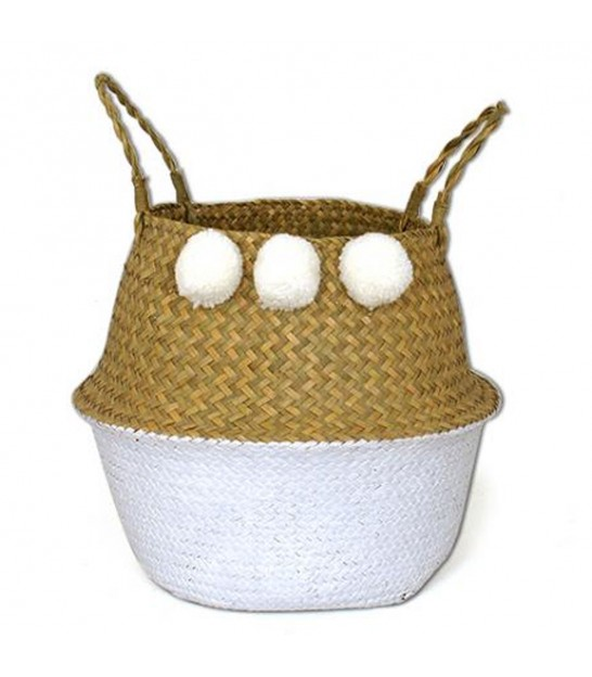 Wicker Basket Bicolor White with Pompoms