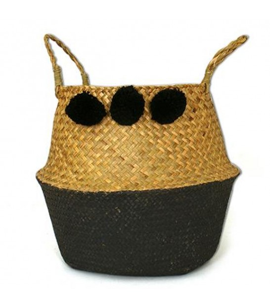Wicker Basket Bicolor Black with Pompoms