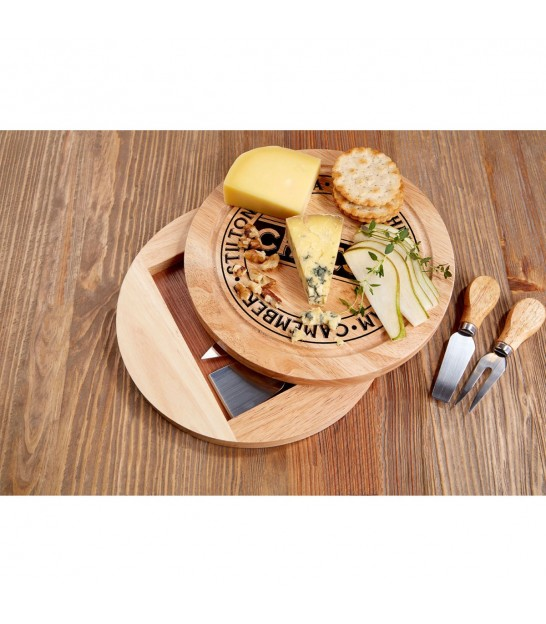 Round Cheese Board and 4 Pieces Knife Set