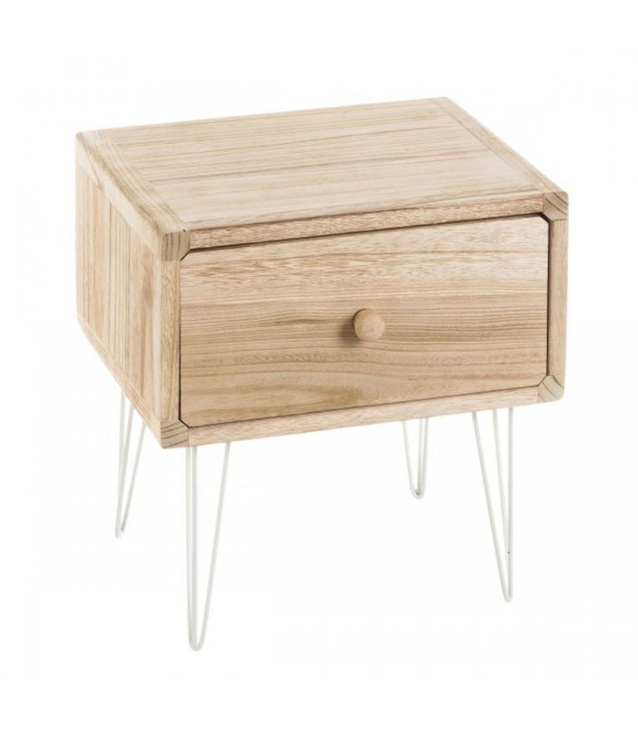 table de chevet en bois de paulownia et pieds m tal blanc. Black Bedroom Furniture Sets. Home Design Ideas