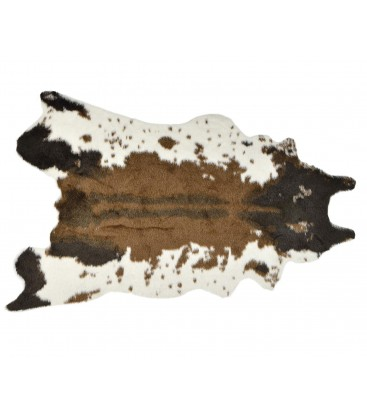 Synthetic cow skin mat for Tapis marron et turquoise