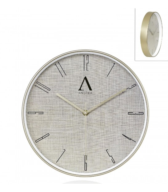 Round Wall Clock Golden Metal - Diameter 30.5cm
